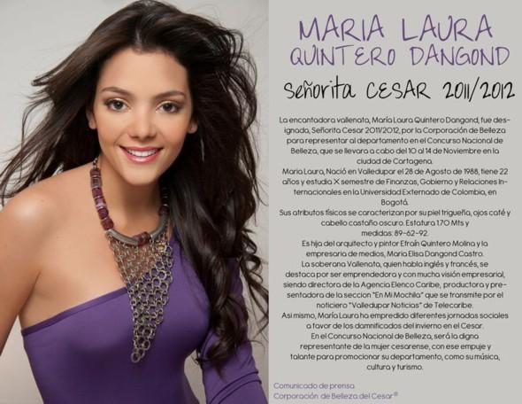 María Laura Quintero, nueva señorita Cesar 2011 – 2012